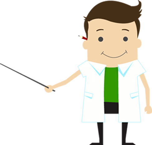 Illustration of scientist holding stick